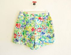 vintage high cut floral WILD ROSES mini shorts. $25.00, via Etsy.