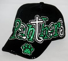 Custom baseball hat. Embroidered applique Panthers hat with rhinestones. All team names and colors available. by SpiritLoft on Etsy https://www.etsy.com/listing/223833859/custom-baseball-hat-embroidered-applique