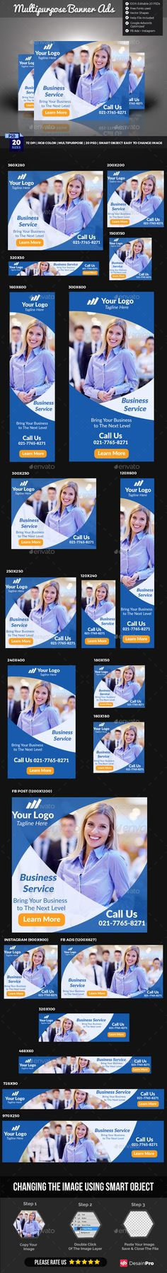 Multipurpose Banner Template PSD #promotion #ads Download here…