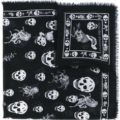 Alexander McQueen skull and badge scarf ($440) ❤ liked on Polyvore featuring men's fashion, men's accessories, men's scarves, black and mens skull scarves