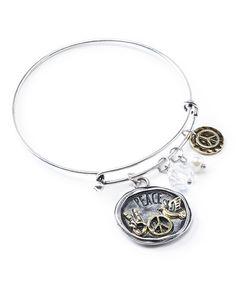 Two-Tone Peace Charm Bracelet #zulily #zulilyfinds