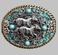 Wild Horses with Genuine Turquoise Western Southwestern Cowgirl Belt Buckle, Belt Buckles :: Clickin Cowgirls