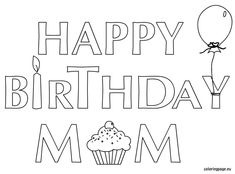 happy birthday mom coloring pages # 74
