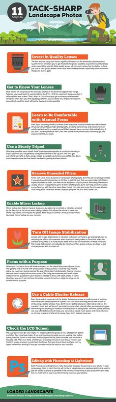 11 Steps to Tack-Sharp Landscape Photos - see this infographic for a detailed guide that you can use to get sharper photos, especially useful for nature photos.