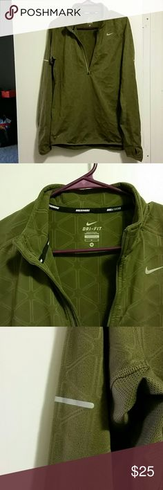 Nike Dri-Fit running shirt Size medium with thumb holes.  Military camo green with 3/4 zip.  Fuzzy material inside.  This is great super breathable active wear. Nike Jackets & Coats