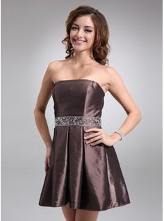 A-Line/Princess Strapless Short/Mini Taffeta Holiday Dresses With Beading (020003283)