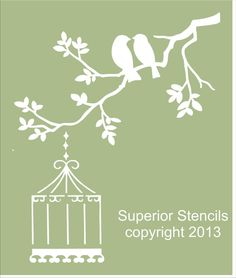 "Stencils ""Two BIRDS on Branch Stencil Design - 4 sizes available-  Create Birds with Bird Cage!"