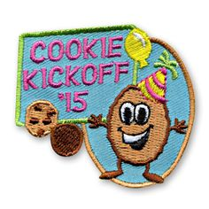 2 x 2.25 Inches **IRON-ON backing for easy & Snappy application** Kick off yout troops Cookie Sales event this year and commemorate the occasion with our creative Cookie Kick Off '15 fun patch. http://www.snappylogos.com/Cookie-Kick-Off-15-Fun-Patch/productinfo/3821/
