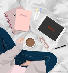 I love rainy days like these,Cuddle up in the sheets,And watching Netflix.Happy Saturday everyone! Portrait Illustration, Graphic Illustration, Graphic Art, Beauty Illustration, Art Illustrations, Aesthetic Anime, Aesthetic Art, Tableau Pop Art, Image Deco