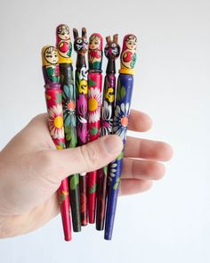 Soviet Souvenir Pen - Matryoshka or Cat, Wooden Ballpoint Pen, Matryoshka Doll Vintage Pen, Hand-painted Wooden Pen, Valentine's Day Gift by TheThingsThatWere on Etsy https://www.etsy.com/listing/195436645/soviet-souvenir-pen-matryoshka-or-cat