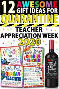 12 Gift Ideas For Quarantine Teacher Appreciation Week 2020 Showing love and appreciation to our beloved teachers this year is a little more challenging since they are all quaranti. Teacher Gift Tags, Your Teacher, Teacher Thank You, Thank You Ideas For Teachers, Easy Teacher Gifts, Teachers Week, Preschool Teacher Gifts, Teachers Day Gifts, Teacher Gift Baskets