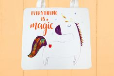 Tote bag printed with Screen Sensation + Unicorn Wishes screen Fabric Tote Bags, Printed Tote Bags, Bed Throws, Girls Bedroom, Screen Printing, Texts, Little Girls, Unicorn, Lettering
