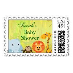 It's A Jungle Baby Shower Stamps. This is a fully customizable business card and available on several paper types for your needs. You can upload your own image or use the image as is. Just click this template to get started!