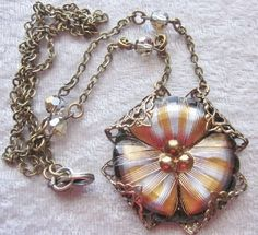 Victorian Look Glass Button Pendant. by OneWomanRepurposed on Etsy