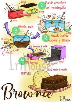 IriHouse: Cómo preparar un brownie perfecto en solo 4 pasos [Dibu-receta] Bakery Recipes, Dessert Recipes, Easy Cooking, Cooking Recipes, Cute Food, Yummy Food, Chocolat Recipe, Recipe Drawing, Food C