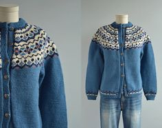 Vintage Nordic Fair Isle Cardigan / 1950s Hand Knit Wool Sweater Blue Navy Pink Cream Made in Norway