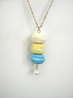 French macaron necklace vanilla pale yellow and blue by xunnux, $24.90