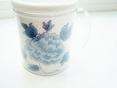 Cross Stitch Floral Mother's Day Mug Blue Rose by WitsEndDesign, $8.00