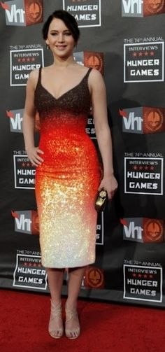 Jennifer Lawrence from the Hunger Games in a beautiful Fiery dress.