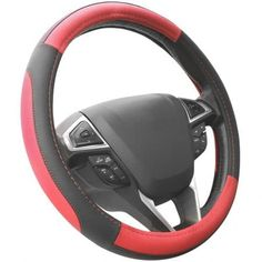 SEG Direct Black and Red Microfiber Leather Auto Car Steering Wheel Cover Universal 15 inch - SEG Direct steering wheel covers fit middle size steering wheels with outer diameter of Suitable for: Audi, BMW(except Mini), Buick(except old Regal), C Car Steering Wheel Cover, Steering Wheels, Cool Car Accessories, Accessories Online, Vw Tiguan, Black And Grey, Beige, Ebay, Stuff To Buy