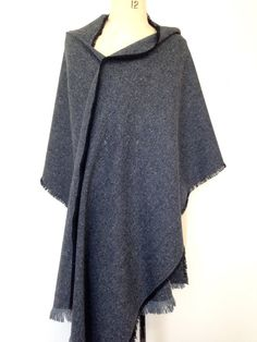 SALE Navy Blanket Scarf - Herringbone Mens Shawl -Wool Shawl - Tweed Winter Scarf Mens Poncho - Blanket Scarves - Gift for Him -Made in UK  £40