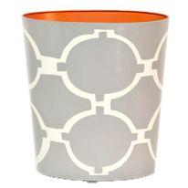 Worlds Away Acadia Gray Wastebasket and Optional Tissue Box Holder, available at #polkadotpeacock. #peacocklove #worldsawaydecor