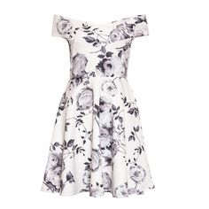 Cream and Grey Floral Print Bardot Skater Dress (2.135 RUB) ❤ liked on Polyvore featuring dresses, cream floral dress, flower print dress, grey dresses, floral print dress and floral skater dresses