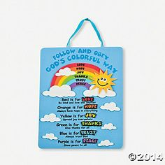 "Rainbows of Virtue Sign - could go along with noah's ark or a ""god gave us colors"" lesson...could DIY"