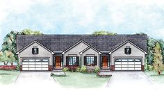 Traditional   Multi-Family Plan 66555 - duplex, 2418 total sq ft, 1 level