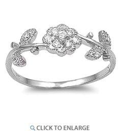 Sterling Silver Flower CZ Ring