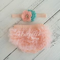 Peach ruffle bottom bloomers diaper cover, aqua blue flower rhinestone pearl headband, newborn infant toddler baby girl take home hospital