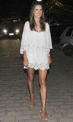 Alessandra Ambrosio.. Stone Cold Fox Marrakech dress in white lace..