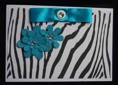 Large Card Blank  3D Flowers and Ribbon £1.50
