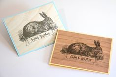 ARC Crafts Blog post for March 21 Easter Bunny Cards on Birch Wood and Cherry Wood paper. #woodpaper