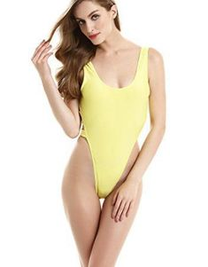 stripsky One Piece High Cut Swimsuit (M(US4-6),Yellow) Make a splash at the beach, pool or the lake with a hot sexy swimsuit. I like these 2017 trendy and sexy swimsuits as they are chic, sophisticated and cute. You will find every color from blue, green, pink and purple. Additionally, you will find bold colors red, orange and yellow. Regardless you will find something perfect for your body whether it be a sexy one piece or a chic two piece.