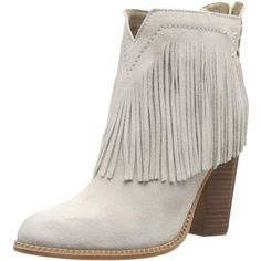 Cynthia Vincent Women's Native Boot ($295) ❤ liked on Polyvore featuring shoes, boots, pink boots, open back shoes, pink fringe boots, chunky shoes and cynthia vincent boots