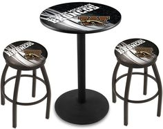 Western Michigan Broncos D2 Black Pub Table Set.  Available in two table widths. Visit SportsFansPlus.com for Details.