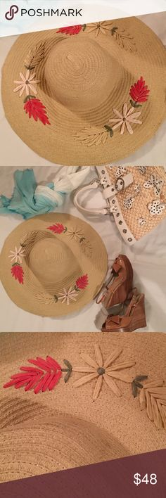 Darling straw hat to shield and show Yes it's almost summer! Put on a fabulous straw hat, with flowers embroidered on it, a big wide brim, it's awesome! Add our Wilson straw bag, camel sandals, bam! BCBGMaxAzria Accessories Hats
