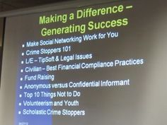 Crime Stoppers Social Media Making A Difference ~ Generating Success & Safety