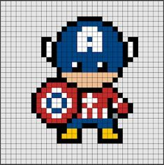 Marvel Cross Stitch, Cute Cross Stitch, Cross Stitch Patterns, Graph Paper Drawings, Graph Paper Art, Pixel Pattern, Pattern Art, Pixel Art Super Heros, Pony Bead Crafts