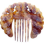 Victorian Hair Comb Carved and Pierced Steer Horn Hair Accessory