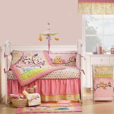 Pink Owl, Tree, and Forest Animals Baby Girl Nursery 8pc Crib Bedding Quilt Set | eBay