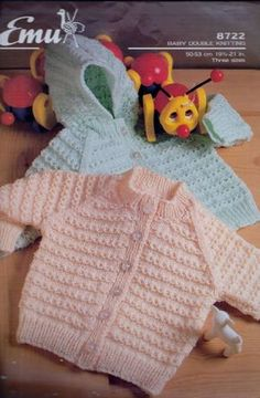 Original Baby Knitting Pattern Emu 8722 Baby Cardigan with out Hood in Double Knitting Chest 19 - 21 This pattern is in very good condition no rips