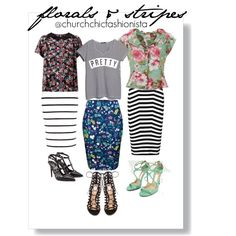florals and stripes by churchchicfashionista on Polyvore featuring polyvore fashion style Violeta by Mango Influence Alexander Wang Elodie River Island Gianvito Rossi Valentino Jimmy Choo