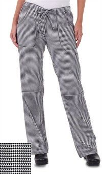 Style # 5001HTW: Women's Drawstring Chef Pant - Houndstooth White