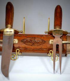 Vintage Indian Rosewood Carving Knife And Serving Fork