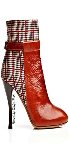 Houndstooth plaid makes a very clean and European feel in this London inspired boot. Opt for varying materials in footwear to give you an international feel.