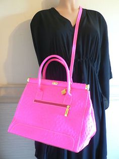 Giada Pelle Neon Pink Alligator Print Leather Handbag Nwot Bags Handbags Italian