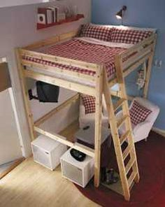 Loft bed……my son's guitars, amps, etc. are all in the game room crowding everything else out. I am determined to raise his bed into a loft bed an… – Diy Furniture Ideas Small Rooms, Small Spaces, Bedroom Small, Kids Rooms, Ikea Loft, Cool Beds, Boy Room, Girls Bedroom, Bedrooms