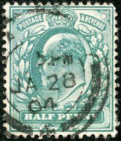 "Great Britain 1902 Scott 127a ½d blue green ""Edward VII"""